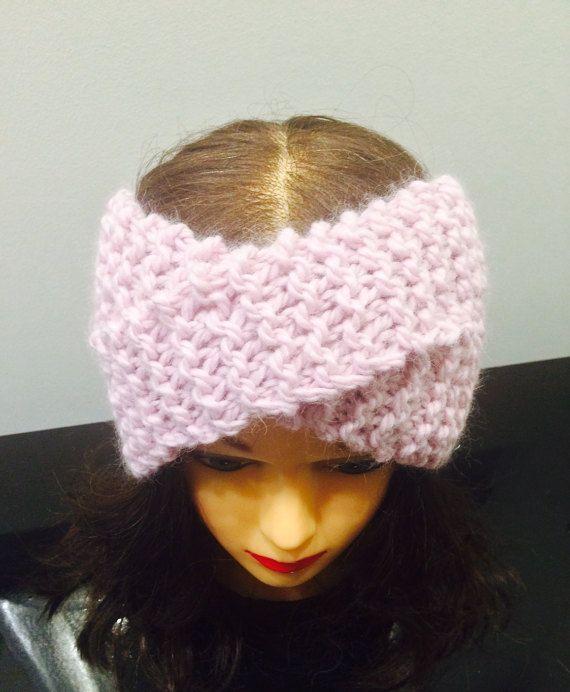 Twisted knit turban, wool knit headband, wool earwarmers, handmade knit turban, pink headband , READY TO SHIP