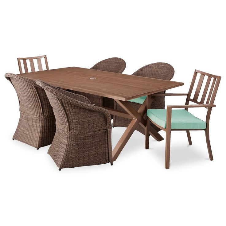 Threshold Holden 7 Piece Metal Wicker Rectangular Patio Dining Furniture Set