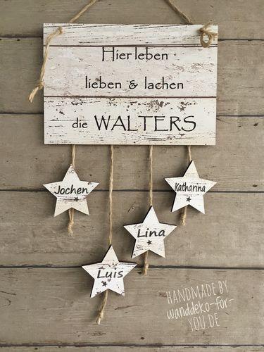 Hier leben…..die….mit Sternen und Namen Vintag…