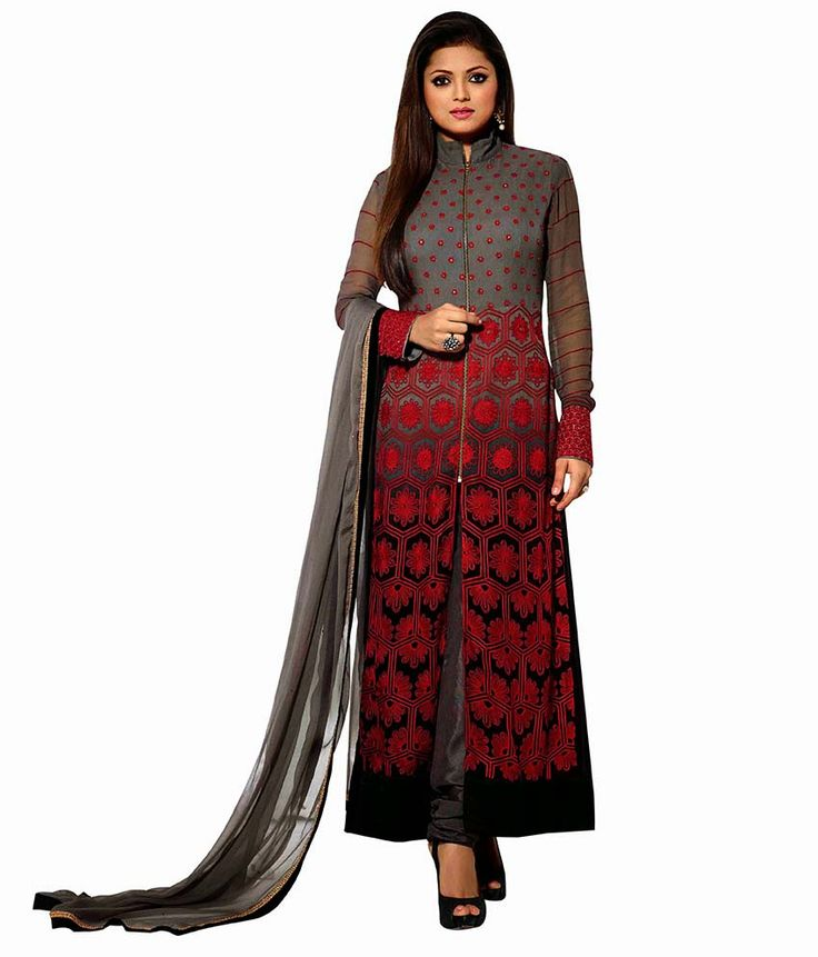 Red and grey embroidered log straight designer salwar suit Buy on below link : http://uttamvastra.com/product-category/retail/ OR What's app contact on : 7069883833