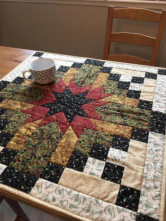 Handmade Quilted Christmas Table Topper Christmas Wall