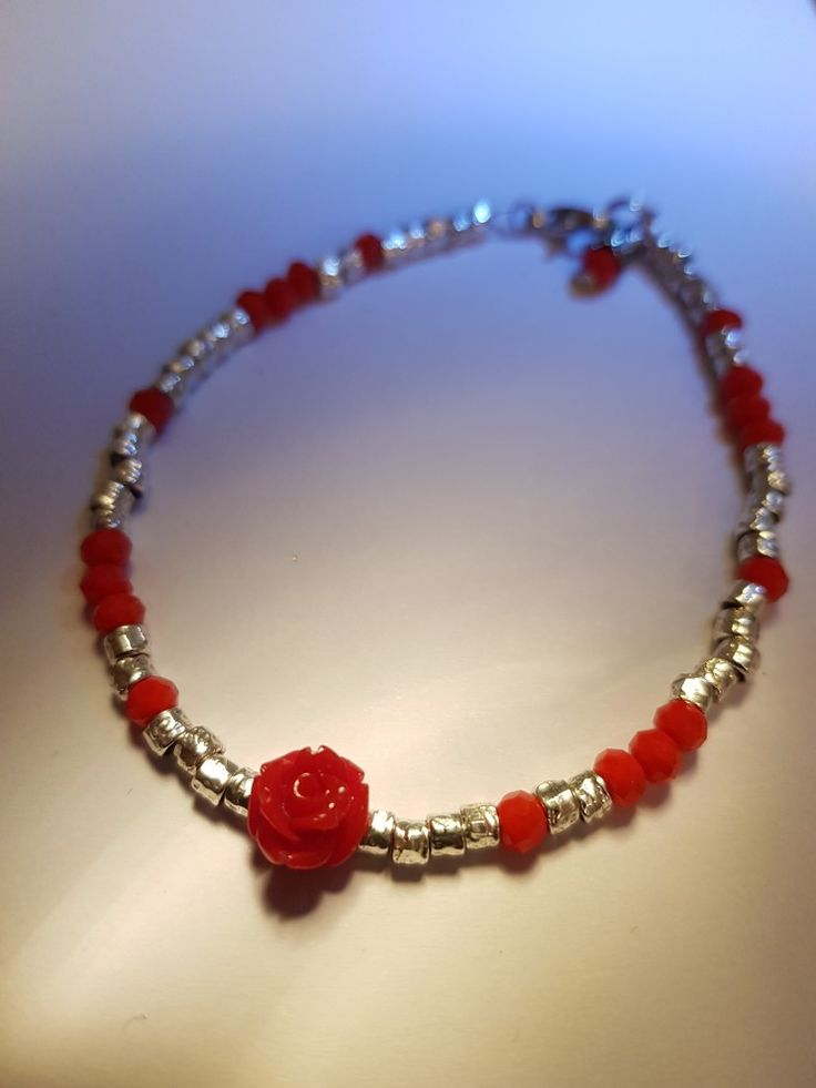 Tibetan silver beads bracelet with red rose and rondelle beads