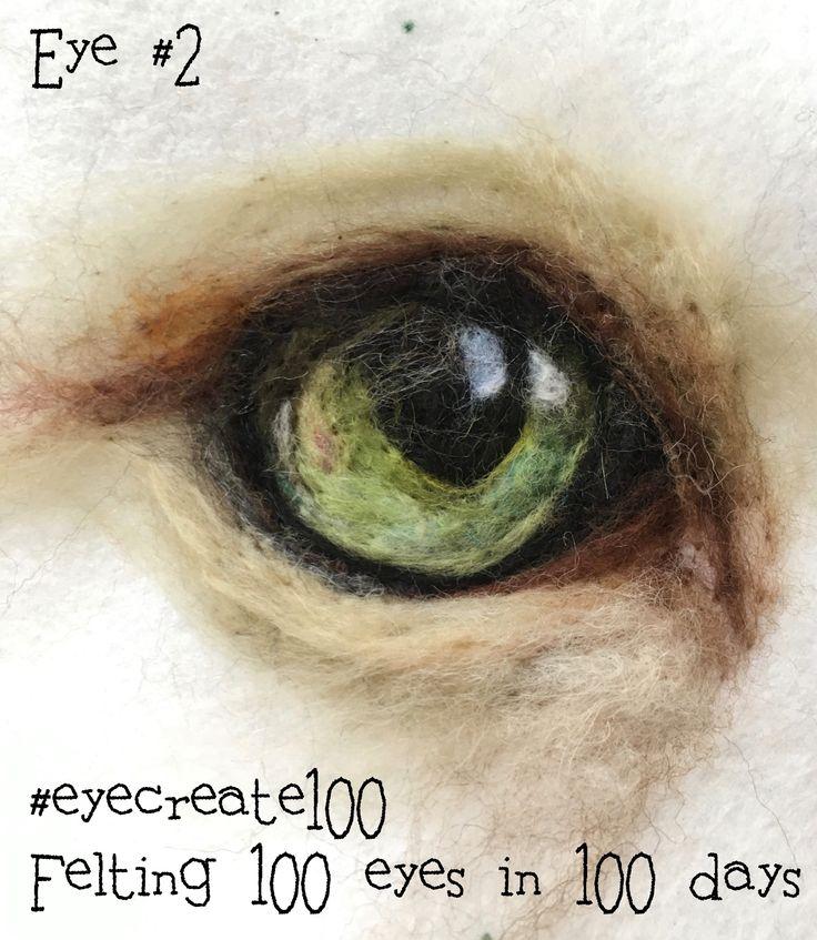 2D needle-felted wool cat's eye