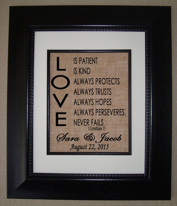 NEW Design LOVE is Patient LOVE is KInd Burlap Print - Personlalized Wedding Gift - Bridal Shower Present