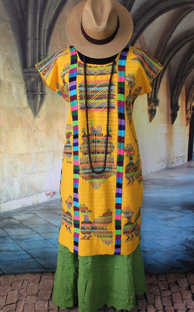 Traditional Yellow Hand Woven & Embroidered Chinantec ...