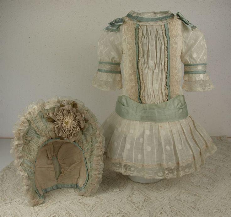Wonderful Antique Batiste French Bebe Dress and Bonnet for JUMEAU, BRU or other French Bebe Doll