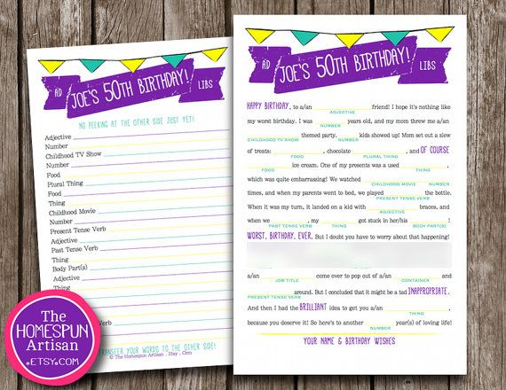 Personalized Birthday Mad Libs Are A Hilariously Fun Grown Up Party Game And Geeky Keepsake For Teens Adults
