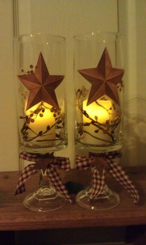 Hurricane lamps made from dollar store items