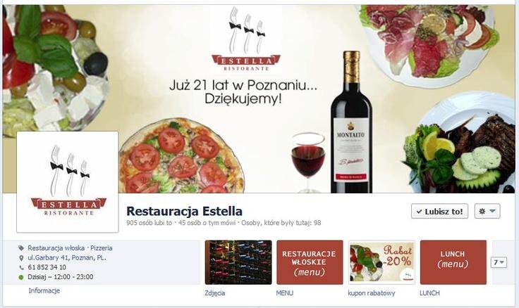 Restauracja Estella ma 905 fanów. Tak wygląda nagłówek fanpage'a, który prowadzimy.