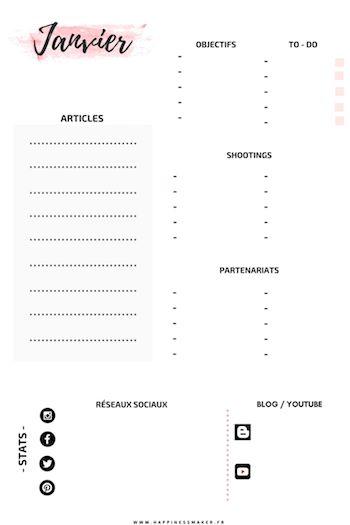Blog planner 2018 freebie gratuit à imprimer articles à rédiger liste shootings photo à organiser objectifs mensuels trackers statistiques de blog partenariats