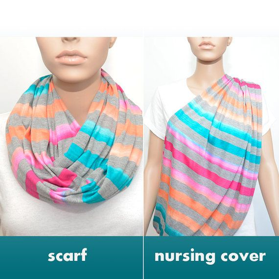 Gray Infinity Scarf with colorful stripes / by NyUrbanAccessories, $25.00