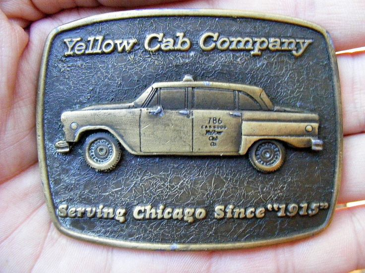 Vtg YELLOW CAB Belt Buckle TAXI Chicago UBER CAR 1915 SPEC LOGO Brass RARE VG++ | eBay