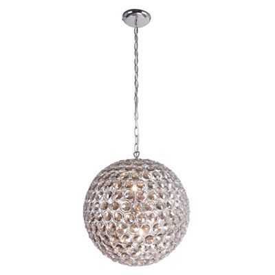 Home collection amelia smoked crystal glass ball pendant light debenhams