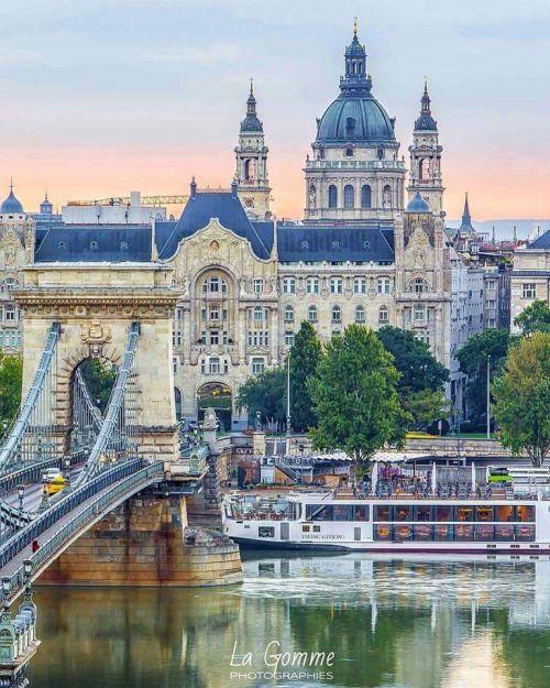Chain Bridge view of Budapest Hungary.