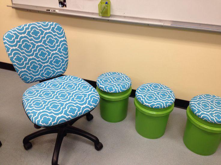 Paint bucket seats with matching teacher chair.