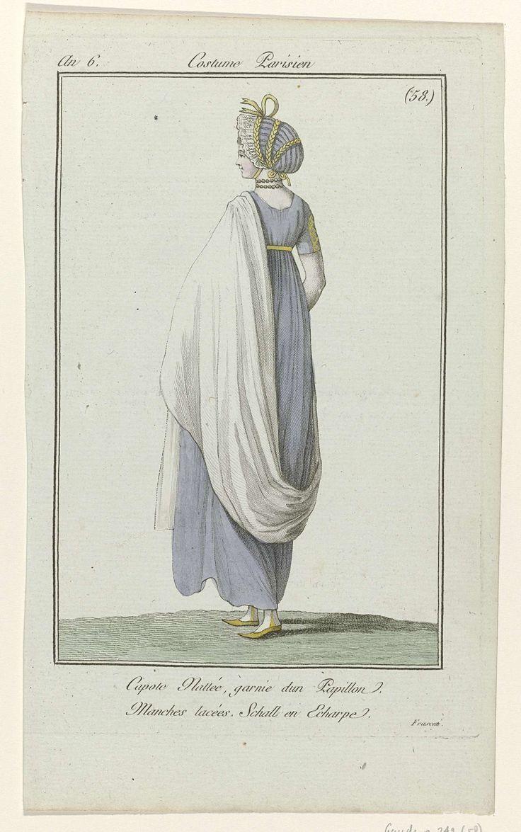 Journal des Dames et des Modes, Costume Parisien, 27 août 1798, An 6, (58) : Capote Nattée..., Anonymous, 1798