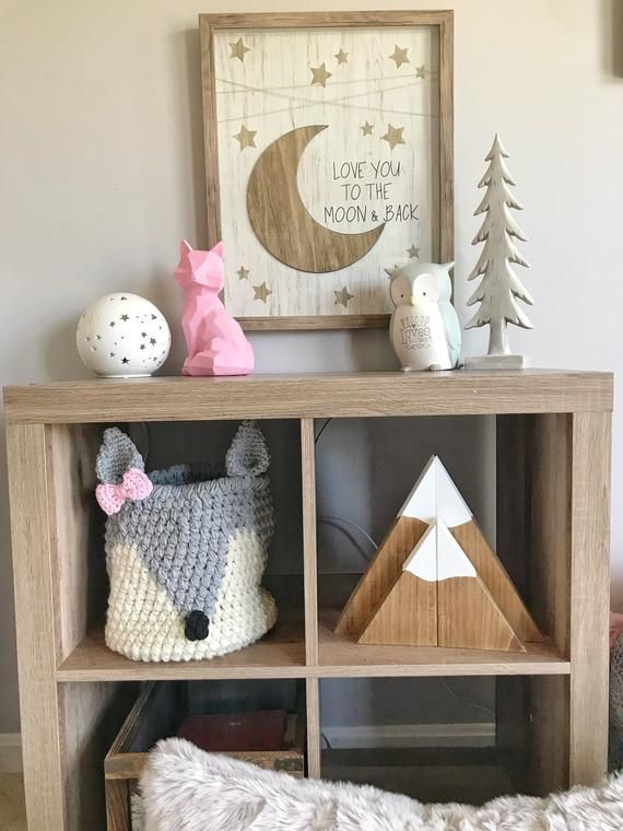 Grey Fox Basket With Bow Wolf Crochet Nursery