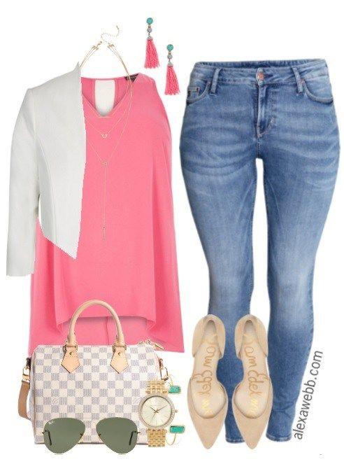 Plus Size Summer Skinny Jeans Outfit - Plus Size Fashion - alexawebb.com