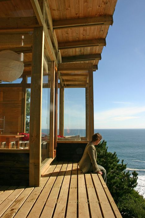 Chile, Pacific Ocean, serenity, cliff, wood