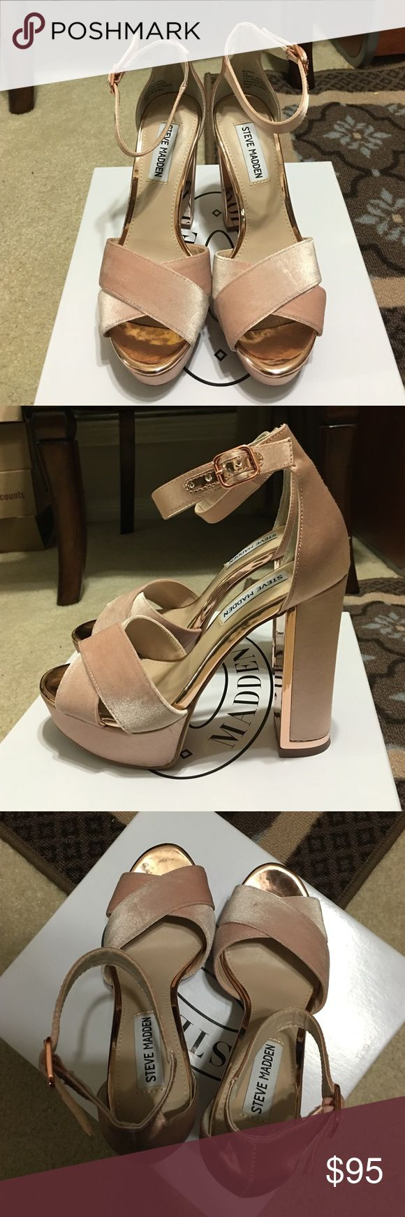 Steve Madden blush pink velvet heel with gold edge Used 1 time for a party - in Great condition Steve Madden Shoes Heels