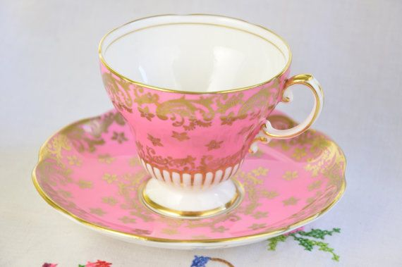 Foley tea cup and saucer/ pink tea cup/ foley bone china