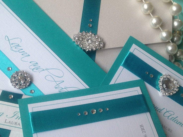 Turquoise heaven! Stunning luxury wedding invitations and wedding stationery that Tiffany fans would die for. Such a cool blue that will captivate and capture hearts and minds. See more at Perfect Day Weddings www.perfectday-weddings.co.uk. Tel 0208 890 5707