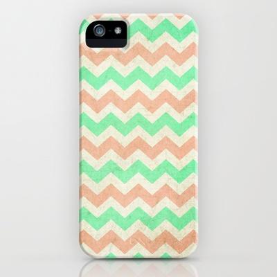 coral+mint+chevron+iPhone+Case+by+Sandra+Arduini+-+$35.00