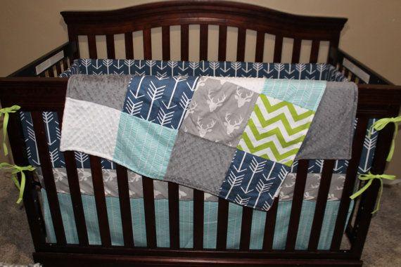 Baby Boy Crib Bedding  Gray Buck Navy Arrow by DesignsbyChristyS