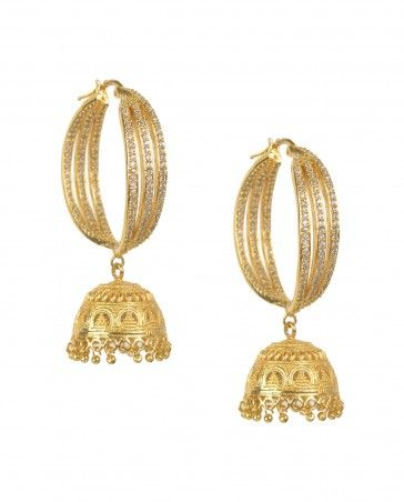 Rhinestone Hoop Earrings with Jhumka Drop by Preeti Mohan Shop Now: http://bit.ly/preetimcocktail #Golden #Crystal #Bling #India #Designer #Jewelry #PreetiMohan #Indian #Kundan #Pearl #Wedding #Bangle #Cocktail #Necklace #ExclusivelyIn #Jewellery #Multicolor #Silver #Gold #Jhumka