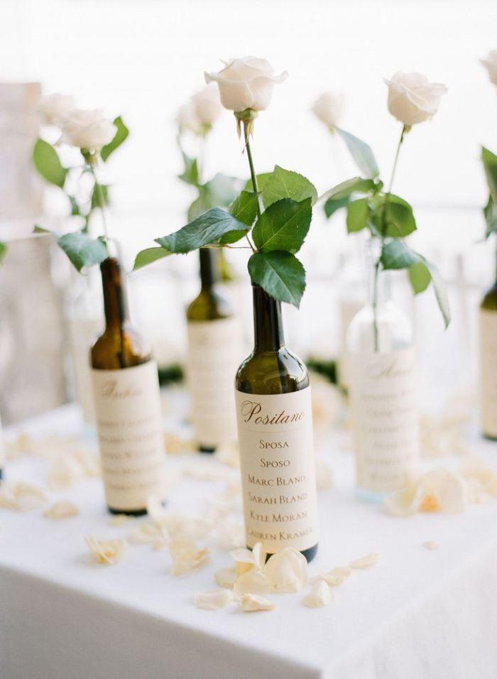 wine bottle wedding seating chart idea