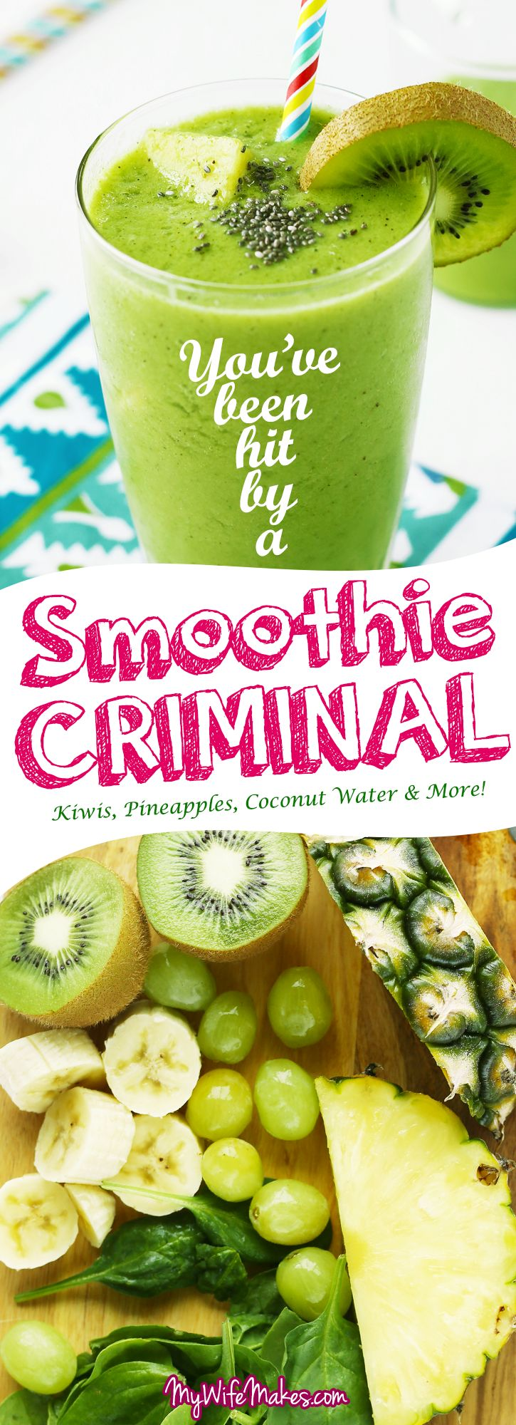 Simple Green Smoothie ~ delicious, healthy, vegan smoothie that's perfect for breakfast, full of pineapple, kiwi, spinach, grapes, banana and coconut water