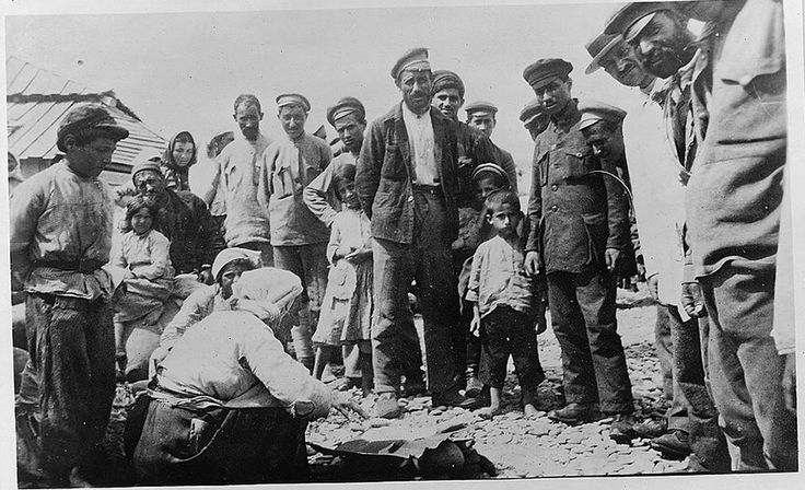Armenian refugees from the Armenian Genocide on a Black Sea beach, Novorossiĭsk, Russia (1920):