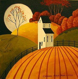 ORIGINAL PAINTING Folk Art landscape Autumn Full Moon Harvest farm country land