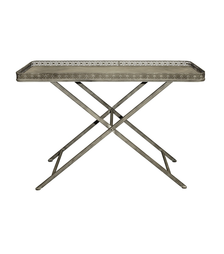 Evoking images of old France, our Iron Folding Table is imbued with a soft grey/taupe wash. Pair with vintage rattan, weathered oak and time-worn accessories.