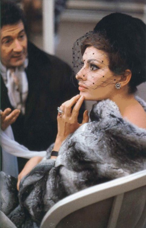 Sophia Loren, 1963  fur and a pill box hat with a veil