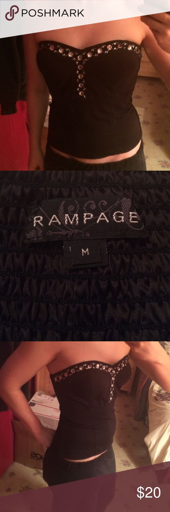 Rampage M beaded bust black tube top Only ever wore twice so I'm decluttering. Has all beads on top and is fitted, slight flare at bottom so it doesn't show tummy bulge! Eager to sell! Rampage Tops