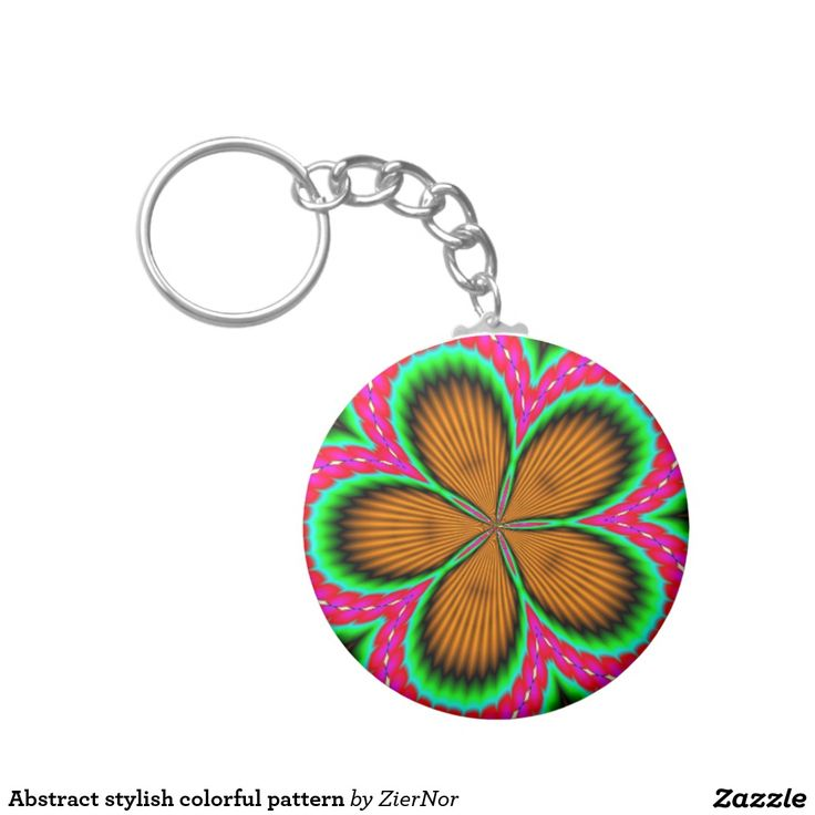 Abstract stylish colorful pattern basic round button keychain