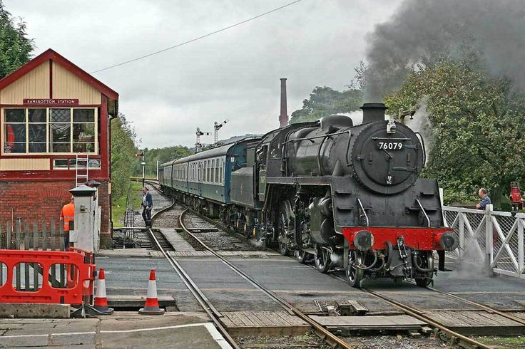 Steam 2-6-0 - Ramsbottom - Lancashire, United Kingdom, September 05, 2007 - 76079 pulls into Ramsbottom Station on the East Lancashire Railway on a quiet day.