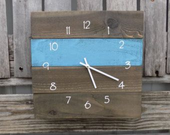 Primitive Clock Beach Style Clock Rustic Wood by ThePalletDoctor