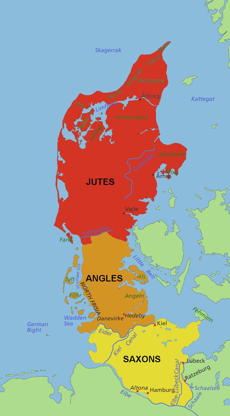 The Jutland Peninsula showing the historic homeland of the Germanic tribes of Jutes, Angles, and Saxons after the Roman departure from Britain (ca. 500 CE)