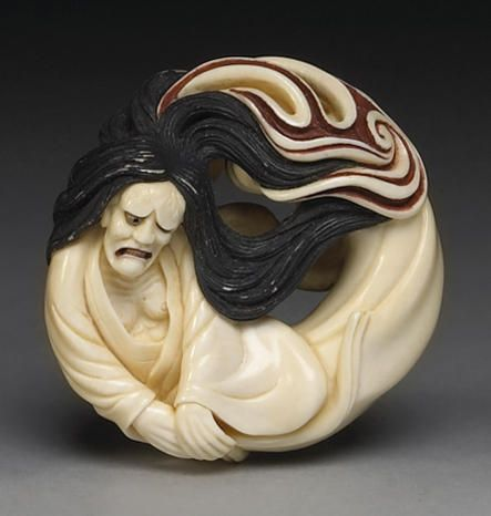 A Contemporary Ivory netsuke study of Hannya By Tanetoshi, Late 20th Century
