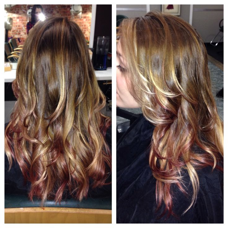 Blonde and red violet highlights