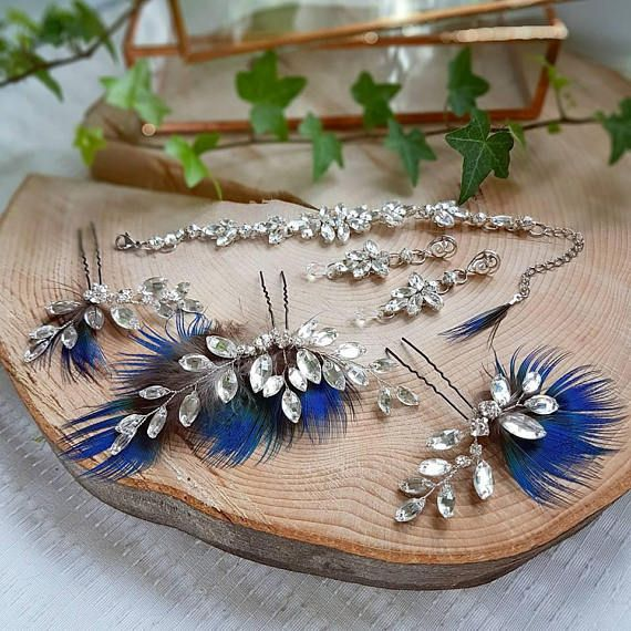 Check out this item in my Etsy shop https://www.etsy.com/listing/553729137/peackok-feather-bridal-set-peackok