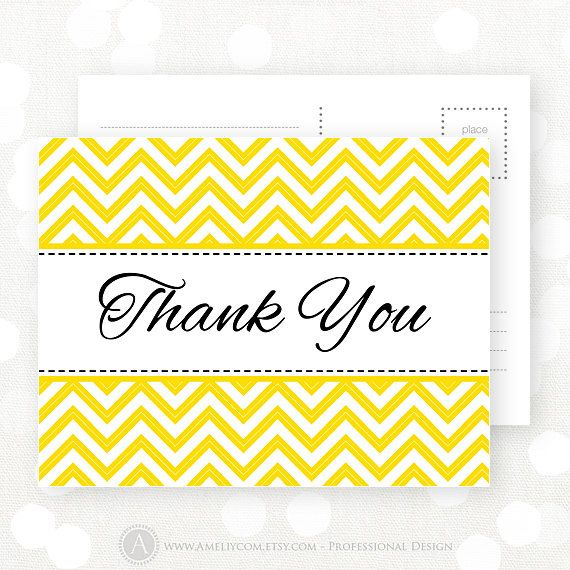 Printable Thank You Card Yellow Chevron INSTANT by AmeliyCom, $5.00