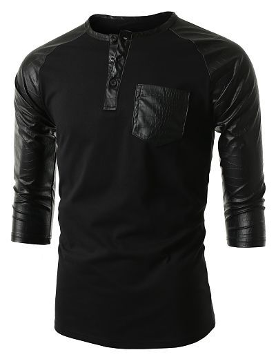 Mens Leather Sleeve Pocket Raglan T-Shirt #doublju