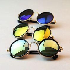 Fashion Women Men Hippie Retro Hd Sunglasses Round Vintage Mirror Glasses Uv400