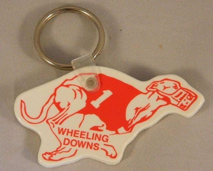 Vintage WHEELING DOWNS Keychain Key Ring Greyhound Dog Racetrack Racing USA Made