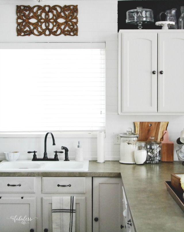Budget Farmhouse Kitchen | How to install a Wood Plank Backsplash for under $100 | MyFabulessLife.com