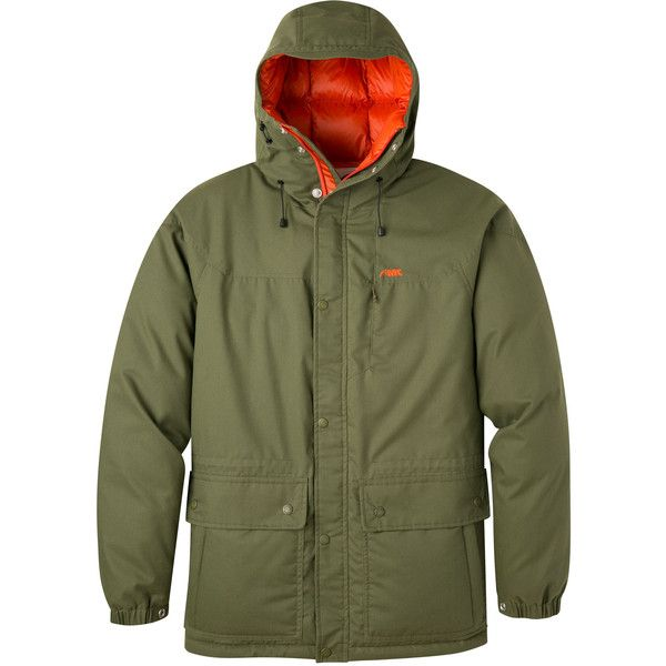 Men's Mountain Khakis Double Down Parka Jacket - Field Green Winter... ($350) ❤ liked on Polyvore featuring men's fashion, men's clothing, men's outerwear, men's jackets, green, mens green jacket, mens parka, mens green parka jacket and mens green parka