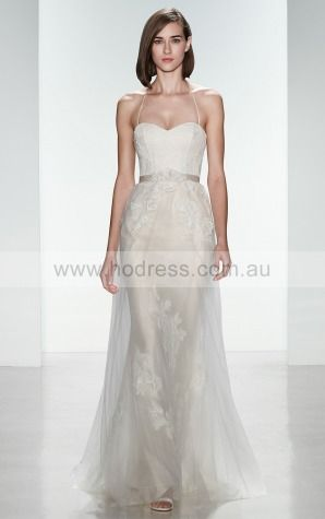 Zipper A-line Natural Halter Wedding Dresses hncf1001--Hodress